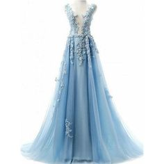 2018 A-line Princess Deep V Neck Sleeveless Floor Length Prom... (735 RON) ❤ liked on Polyvore featuring dresses, floor length dresses, a line dress, blue floor length dress, blue a line dress and floor length prom dresses