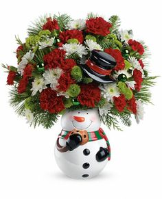 Teleflora's Snowman Cookie Jar with lid. #Christmas #flowers and cookie jar gift.
