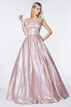 936850ef66bb CD KC 880 - Metallic holograohic floral ball gown with illusion sides and  pockets