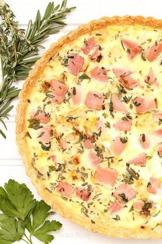 Ham and Herb Quiche via @chocolatemoosey