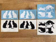 Black and white cat silhouette stickers, vinyl decals for home decoration, wall art by SylverZone on Etsy