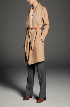 Neutral gray and camel together.  Excellent Elegant Ensemble.  Belt over long jacket