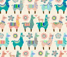 Llama Fun fabric by mariafaithgarcia on Spoonflower - custom fabric