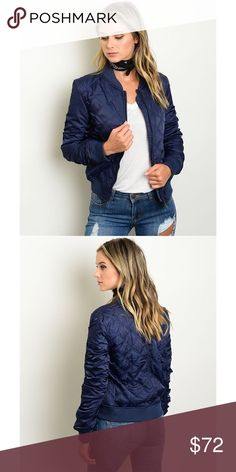 "Blue Quilted Bomber Jacket Royal blue quilted bomber jacket. Gorgeous design for fall with a perfect unique twist on the bomber jacket with quilted detail. 100% polyester Measurements are: L34"" B36"" W36"" KJ Couture Jackets & Coats"