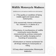 Midlife Motorcycle Madness Definition Poster $23.40