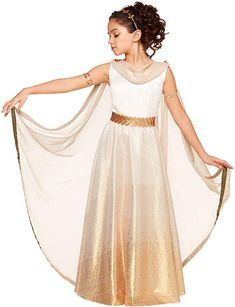 Kids Goddess Costume ** For more information, visit image link. (This is an affiliate link) Roman Goddess Costume, Goddess Halloween Costume, Spirit Halloween, Halloween Costumes For Teens, Cool Costumes, Halloween Kids, Fashion Brands, Gold Clothing, Evie