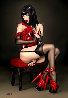 "I love those shoes!    artist: Jessica Dougherty | date: 2009 | title: ""The Devil Wears Latex"""