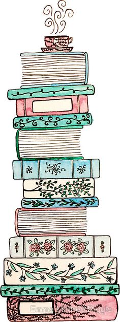 """""""Pink and Blue Floral Bookstack"""" Stickers by Emma Mildred Riggle Buch Design, Book Drawing, Stack Of Books, Bullet Journal Layout, Book Nerd, Doodle Art, Cute Drawings, Book Worms, Bookmarks"""