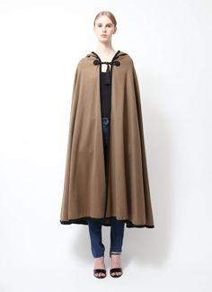 Saint Laurent | 70's Brown Hooded Cape | RESEE