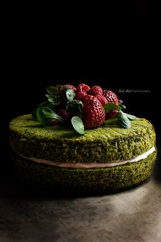 moss forest cake made with spinach. Moss Cake, Spinach Cake, Just Desserts, Dessert Recipes, Matcha Cake, Cupcake Cakes, Cupcakes, Dark Food Photography, Forest Cake