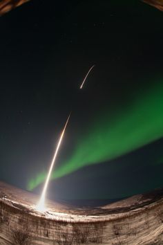 image of GREECE sounding rocket launch into aurora A NASA-funded sounding rocket launches into an aurora in the early morning of March 3, 20...