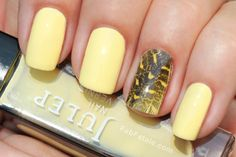 Yellow Feather Nails by Fab Fatale