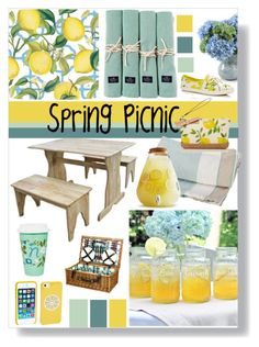 """spring picnic"" by slpayne ❤ liked on Polyvore featuring interior, interiors, interior design, home, home decor, interior decorating, Caspari, Lexington, Cathy's Concepts and New Growth Designs"