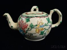 Staffordshire Salt-glazed Stoneware Teapot and Cover, England, c. 1760, globular with molded crabstock handle, spout, and knop, polychrome enamel decorated with flowering branches, lg. 6 1/8, ht. 3