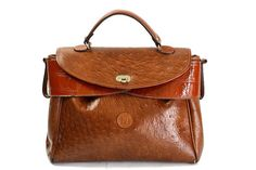 I usually try not to love expensive bags, but this one is gorgeous: Authentic Vintage Fendi Satchel Bag, Colorblock Ostrich Leather, Brown 1960s