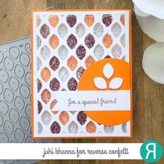 I tried something different (for me) for the second day of count down to confetti September release. Layered 4 leaf lattice cover plate die cuts and filled chunky glitter in 3 different colors in each leaf cavity. Confetti Cards, Friendship Cards, Thanksgiving Cards, Fall Cards, Autumn Inspiration, Fall Halloween, Autumn Leaves, Card Making, Plate