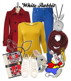 White Rabbit by amarie104 on Polyvore featuring polyvore fashion style EAST Versace Neil Barrett Olympia Le-Tan Nach Tom Binns Paula Bianco Maison Michel Disney clothing