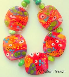 jasmin french ' wild leopard ' lampwork focal beads glass art