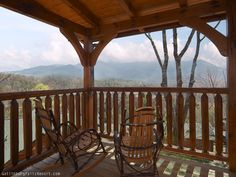 "Deck view of Smoky Mtns from ""For Spacious Skies"" 4-BR luxury rental Gatlinburg cabin"