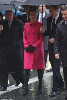 Kate Middleton in a Mulberry coat at the 9/11 Memorial in NYC, December 2014.
