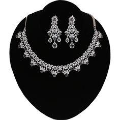 Wedding Bridal Fashion Rhodium Plated Black and White Crystal Flower Zircon Necklace Wedding Jewellery Designs, Wedding Jewelry, Jewelry Design, American Diamond Jewellery, Diamond Jewelry, Indian Jewelry Sets, Crystal Flower, Quality Diamonds, Diamond Stone