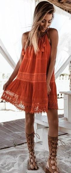 #summer #lovely #outfits |  Rust Lace Dress