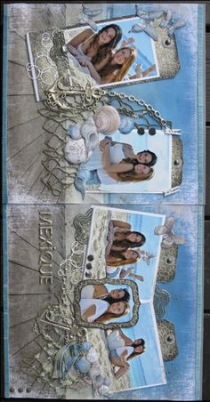 Scrapbooking, montage double, 2-page layout, plage, beach, vacances, holidays, vacation, mexique, mexico,water, eau, mer, ocean