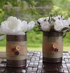 Turn your tin cans into vases and don't forget the buttoned sleeves.