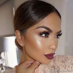 Sultry makeup look, classic red lip with dewy flawless skin, sleek bun and lace dress. Perfecg makeup look for and Glam Makeup, Makeup On Fleek, Flawless Makeup, Gorgeous Makeup, Pretty Makeup, Love Makeup, Skin Makeup, Bridal Makeup, Wedding Makeup