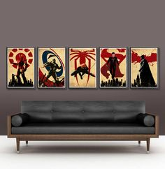 Superheroes Series - Batman Captain America Spiderman Superman and Ironman Posters