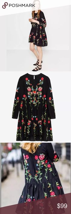 "Zara embroidered dress Gorgeous Zara black dress with flowery embroideries. Cotton/silk blend. Front side is designed a bit shorter than back of the dress. Length of the front is 32"", length of the back is 32"". No trades. Zara Dresses Midi"