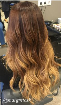 Auburn red color ombre. Dark roots to a lighter golden blonde. #auburn #blonde #hair