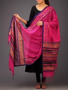 Buy Pink Purple Black Paisley Khari Block Printed Silk Dupatta by Jaypore Tussar Accessories Dupattas Online at Jaypore.com