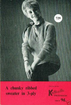 1960's VINTAGE MACHINE PATTERN: KNITMASTER CHUNKY RIBBED SWEATER