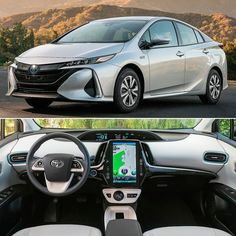 """Toyota Prius Prime 2017 Modelo híbrido vendido nos EUA teve mudanças no plugin para deixá-lo com maior autonomia a começar pelas novas baterias de íons de lítio de 8.8 kW. O powertrain é composto de motor elétrico acoplado com um 1.8 DOHC 16-V com 95 cv e 142 Nm de troque e transmissão automática CVT. A autonomia é de 1029 km. Os faróis são de LED e as rodas têm 17"""". Do lado de dentro uma nova central multimídia com tela touch de 11.6 polegadas enquanto o quadro de instrumentos é totalmente…"""