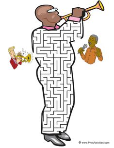 This trumpeter shaped maze is great ativity page for musical kids. Guide the trumpeter thru the maze to the singer. Mazes For Kids Printable, Music Symbols, Music Worksheets, Music And Movement, Primary Music, Music Activities, Music For Kids, Elementary Music, Music Classroom