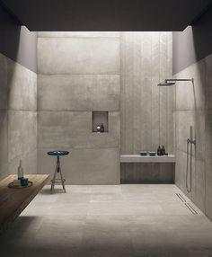 26 Neutral Interior Design To Inspire Your Ego - Home Decor Ideas Concrete Bathroom, Concrete Tiles, Basement Bathroom, Bathroom Interior, Concrete Shower, Ikea Interior, Tile Wood, Bad Inspiration, Bathroom Inspiration