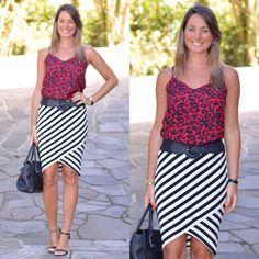 Look de trabalho - look do dia - moda corporativa - roupa de trabalho - look executiva - look verão - summer - work wear - work outfit - office - mix de estampas - mix and match - listras e animal print - stripes - saia lápis - saia listrada - pencil skirt -