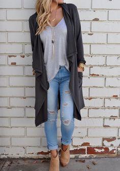 Grey Plain Irregular Turndown Collar Slit Back Casual Cardigan Sweater