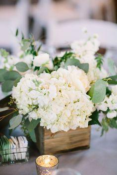Green & White Wedding; Wood Box Centerpiece http://significanteventsoftexas.com