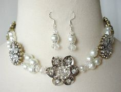 Bridal Necklace Wedding Necklace Set Repurposed by laiseoriginals, $104.00