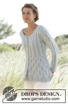 Knitted DROPS fitted jacket with leaf pattern, worked top down in Cotton Light. Size: S - XXXL. Free knitting pattern by DROPS Design. Sweater Knitting Patterns, Lace Knitting, Knit Patterns, Knitting Designs, Crochet Jacket, Knit Jacket, Drops Design, Poncho Pullover, Summer Knitting