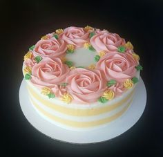 buttercream stripes with rosettes