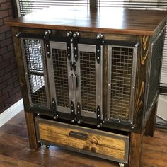 Rustic Dog Crate Raised with Sliding Day Bed - Sliding barn doors / Dog House / Credenza / rustic furniture / farmhouse pet / dog kennel Industrial Drawers, Modern Industrial Furniture, Metal Furniture, Rustic Furniture, Furniture Design, Industrial Lamps, Refinished Furniture, Table Furniture, Furniture Ideas