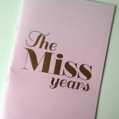 The Miss Years is a simple scrapbook, perfect for writing messages to the bride to let her know how happy you are for her, how much you love her and to remind her of her most embarrassing moments in her life as a miss. It has a light pink cover with gold foil writing and blank pages to be filled with your notes to and photos of the bride, the perfect keepsake for her to take to her wifey life.  20 pages, 40 front and back