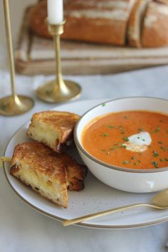 creamy tomato soup and grilled cheese ({ fleur de sel })