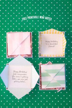Free Printable Mini Notes +100 other fabulous cheap Birthday Ideas! -
