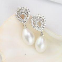 Bridal Pearl Earings Drop Wedding Earrings Real Bridesmaid Rhinestone Flower By Pearlonly On