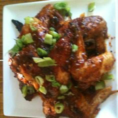 "Asian chicken wings 2 tsp ginger or 1"" fresh grated 4tabs honey 4tabs soy sauce 2 tabs rice wine vinegar 2 tabs chili powder 2lbs chicken wings Salt Pepper Fry chicken 350 degrees 15-17 minutes are bake in oven toss in sauce when done enjoy!"