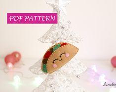 Tacos addobbo, facile tutorial, decorazione fai da te in pannolenci, ornamento per albero di Natale, spiegazione PDF, addobbo unico, regalo
